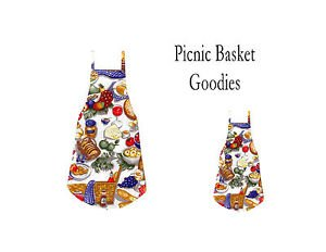 ** NEW DESIGN **Mommy & Me Apron Set - PICNIC BASKET GOODIES - All Handmade