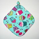 "8"" Hot Pot Pad/Pot Holder with Hanger - CUPCAKES ON GREEN - All Handmade"