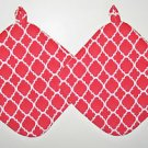 "** NEW ITEM ** 8"" Hot Pot Pad/Pot Holder with Hanger Set of Two - QF RED & WHITE"