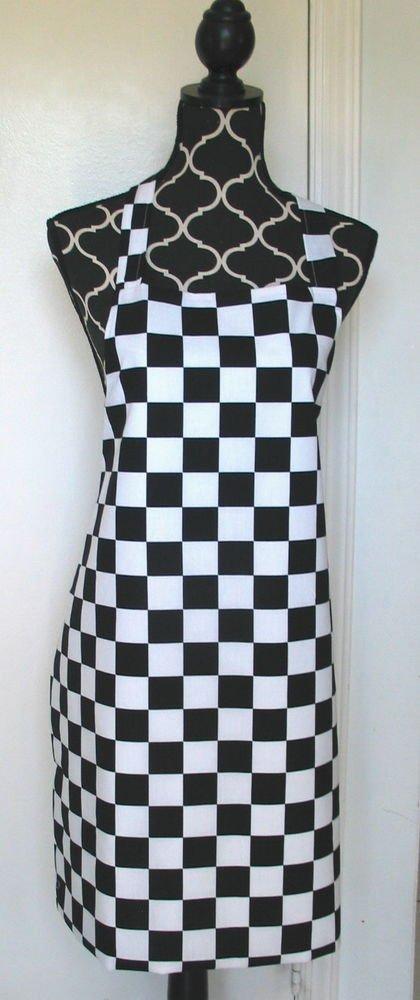 Full Length Adult Apron - BLACK & WHITE CHECKS - All Handmade