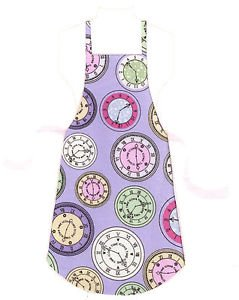 Full Size Adult Apron - CLOCKS ON PURPLE - All Handmade