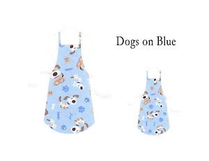 Mommy & Me Apron Set - DOGS ON BLUE - All Handmade