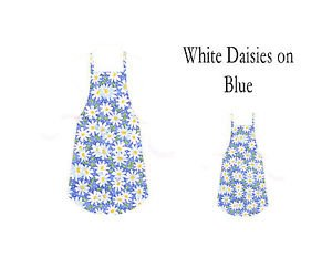 Mommy & Me Apron Set - WHITE DAISIES ON BLUE - All Handmade