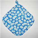"8"" Hot Pot Pad/Pot Holder with Hanger - WHITE DAISIES ON BLUE - All Handmade"