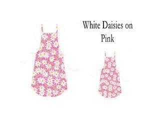 Mommy & Me Apron Set - WHITE DAISIES ON PINK - All Handmade