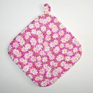 "8"" Hot Pot Pad/Pot Holder with Hanger - WHITE DAISIES ON PINK - All Handmade"