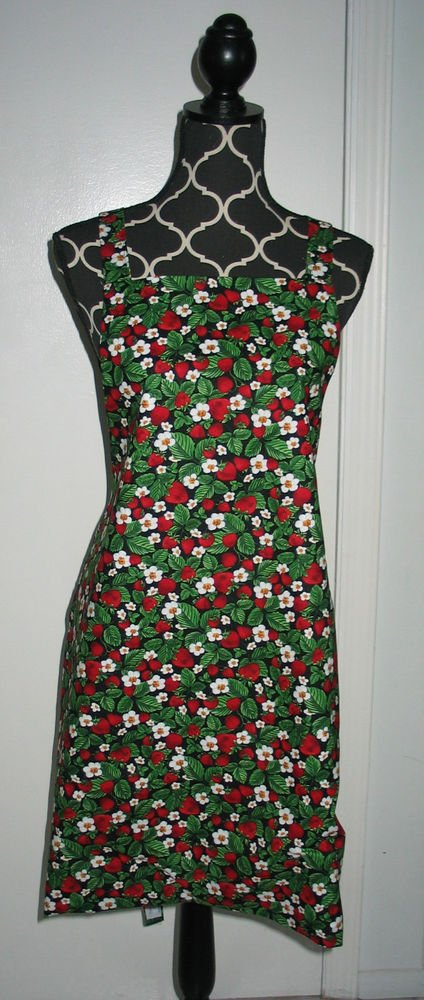 *** NEW ITEM *** Full Size Adult Apron - STRAWBERRIES ON BLACK - All Handmade