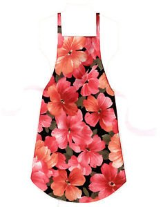 *** NEW DESIGN *** Full Size Adult Apron - PINK & PEACH FLORAL - All Handmade
