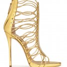 *Brand New* Authentic Giuseppe Zanotti Gold Metallic Calfskin Leather Upper Heels