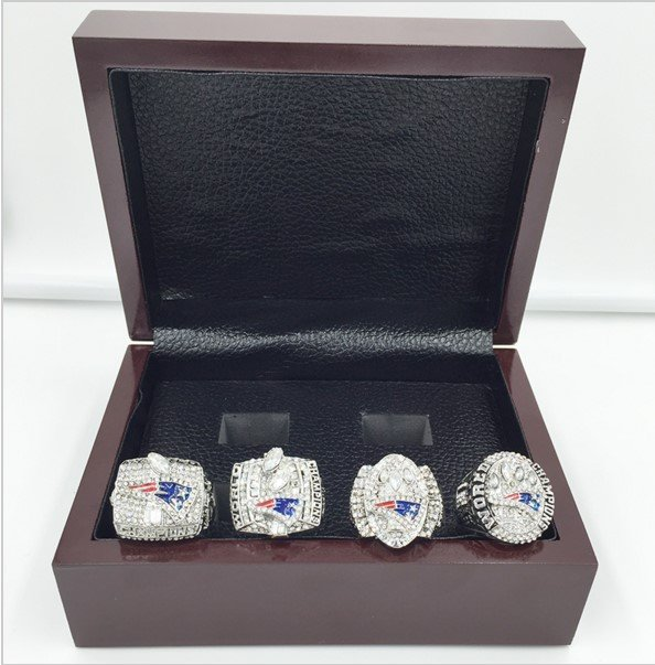 Brand New-New England Patriots Super Bowl Replica RIng Set 2001,2003,2004,2014 with Display Box