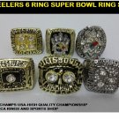 Pittsburgh Steelers 6 Ring Super Bowl Championship Replica Ring Set-74/75/78/79/05/08