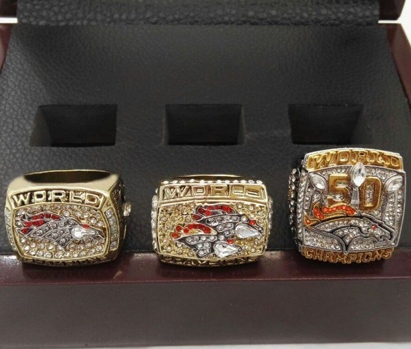 Denver Broncos 3 RIng Set with 50th Super Bowl Championship RIng Sizes 9-12