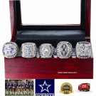 Dallas Cowboys SILVER PLATED Championship Replica Super Bowl 5 Ring Box Set-71,77,92,93,95