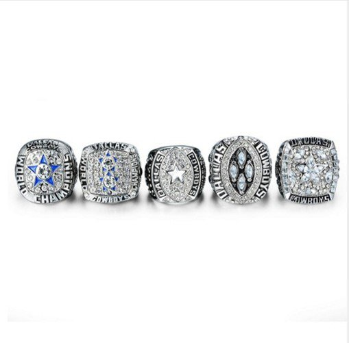 Dallas Cowboys SILVER PLATED Super Bowl Ring Set for 1971,77,92,93 & 95-WITHOUT DISPLAY CASE