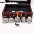 NEW ENGLAND PATRIOTS 5 RING UPGRADED SUPER BOWL REPLICA RING SET WITH DISPLAY CASE
