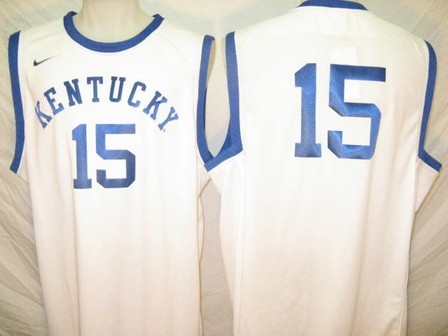 Kentucky Wildcats White #15 Nike XL Tourney Authentic Basketball Jersey