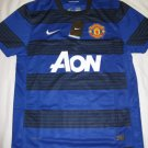 Manchester United Men's Large Nike Dri-Fit Aon Blue/Black Striped Home Jersey