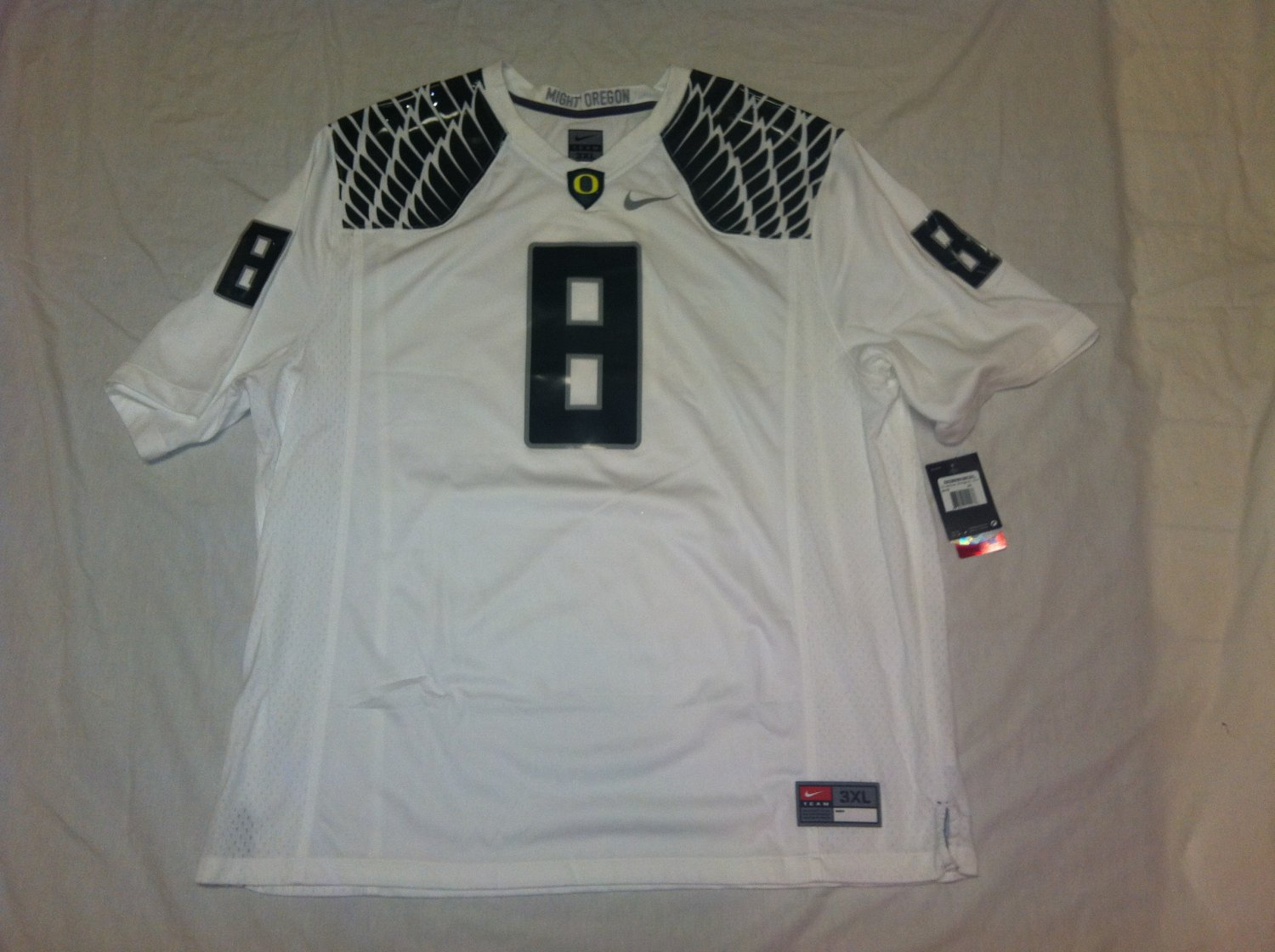 Oregon Ducks White 3XL #8 (Marcus Mariota) Nike Game Jersey