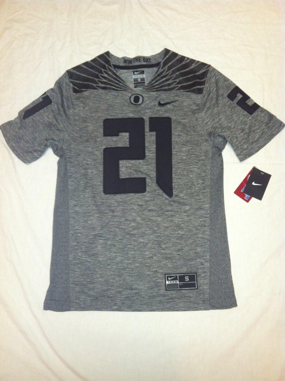 Oregon Ducks #21 Gray & Black Small Nike Gridiron Limited Jersey