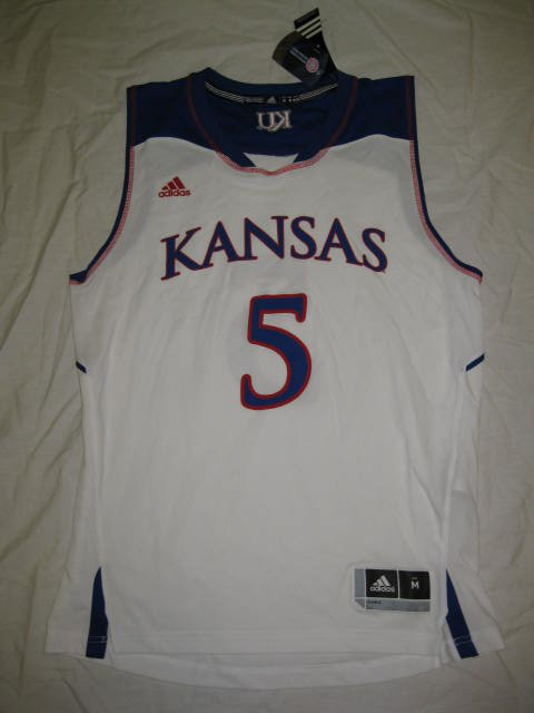 Kansas Jayhawks White #5 Adidas Medium 2014 Replica Jersey