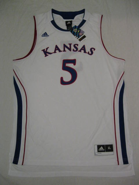 Kansas Jayhawks White #5 Adidas XL Replica Basketball Jersey
