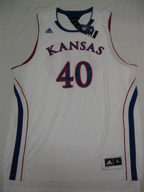 Kansas Jayhawks White #40 Adidas 2XL Replica Basketball Jersey
