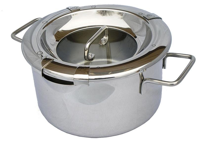 MICHNIK 3.5 Qt Stock Pot 8 in 1, Polished, Stainless Steel, Adjustable Straining, Induction
