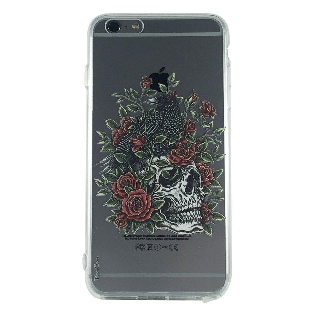 Skull Crow & Roses - Skull Gothic Roses Cell Phone Cases iPhone 6 plus ip6 plus