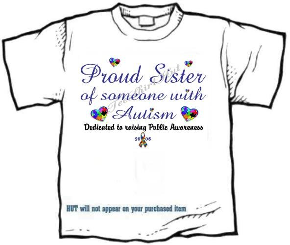 T-shirt, PROUD SISTER, Raising Public Autism Awareness - (adult Xxlg)