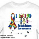 T-Shirt, AUTISM AWARENESS, RIBBON, 1 in 150 -- #1 -- (youth & Adult Sm - xLg)