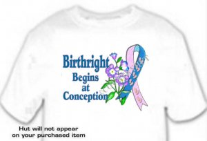 T-Shirt BIRTHright, BEGINS at CONCEPTION Pro Life - (adult Xxlg)