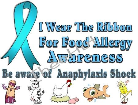 T-shirt, FOOD ALLERGY, ANAPHYLAXIS Awareness, I Wear The Ribbon - (Adult 4xLg - 5xLg)