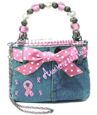 Breast Cancer Awareness, Mini PINK RIBBON DENIM HANDBAG