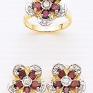 GORGEOUS 14KT YELLOW GOLD FLOWER DIAMOND AND RUBIES RING AND EARINGS SET