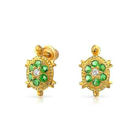 JUST ADORABLE FAUX EMERALD AND DIAMOND 14KT GOLD TURTLE  EARINGS