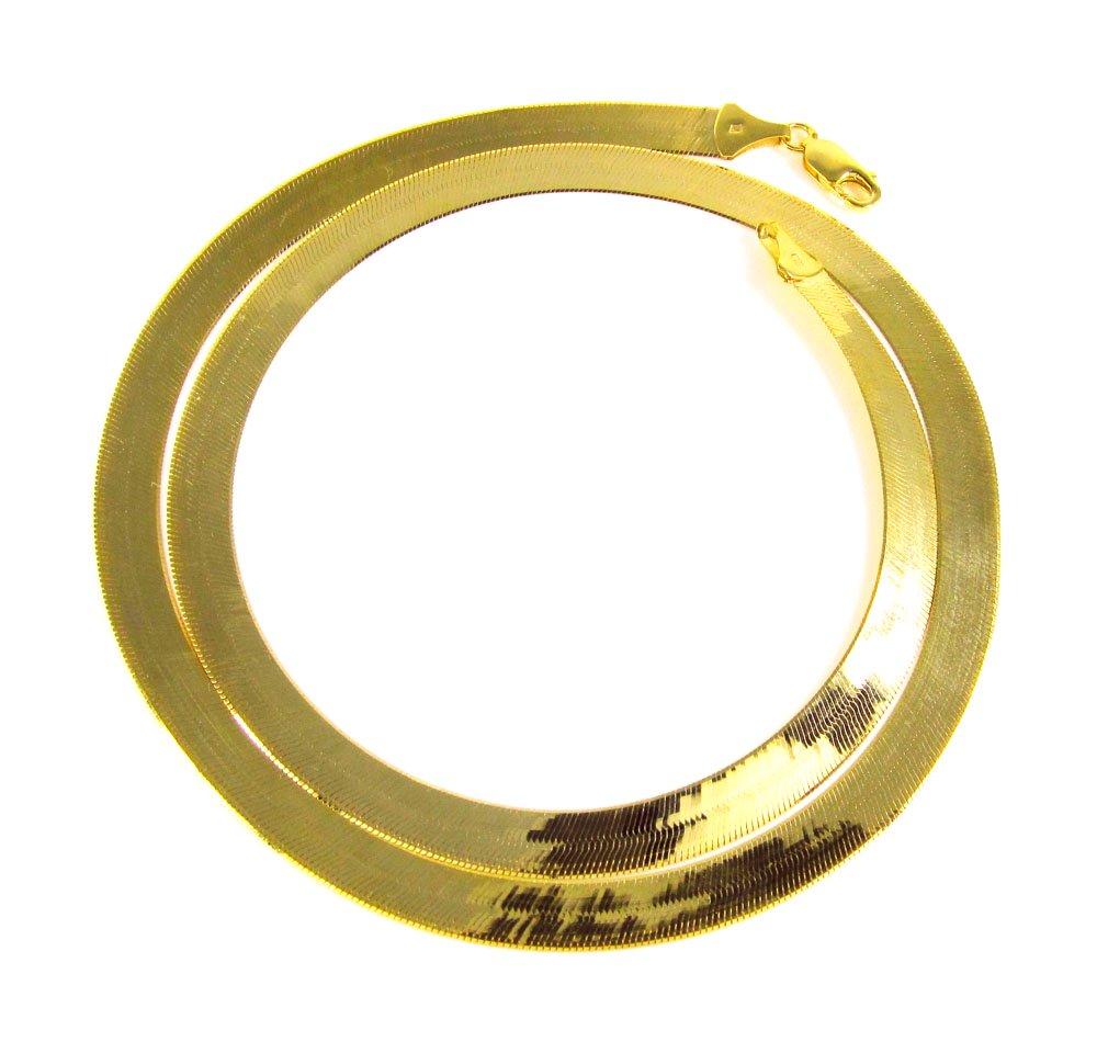 "AWESOME 16"" inch 10kt Gold 10mm wide Herringbone Chain"