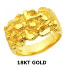 GORGEOUS WIDE 18KT YELLOW GOLD MEN'S NUGGET RING