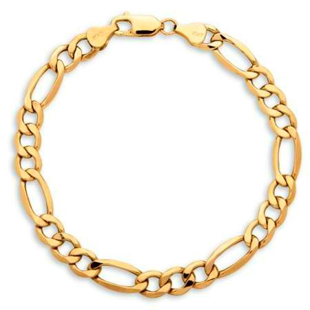 GORGEOUS 10KT YELLOW GOLD MENS FIGARO  LINK BRACELET 8 INCHES 7.5MM WIDE