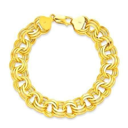 GORGEOUS 14KT YELLOW GOLD LADIES TRIPLE LINK 14MM WIDE BRACELET 7.5 INCHES