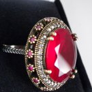 GORGEOUS FAUX RUBY and RUBIES 925 STERLING SILVER