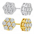 50% OFF Gorgeous 1/2 Carat 10kt Yellow Gold Diamond Flower Earings