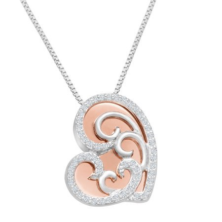 GORGEOUS 10KT ROSE GOLD DIAMOND HEART PENDANT NECKLACE CHAIN
