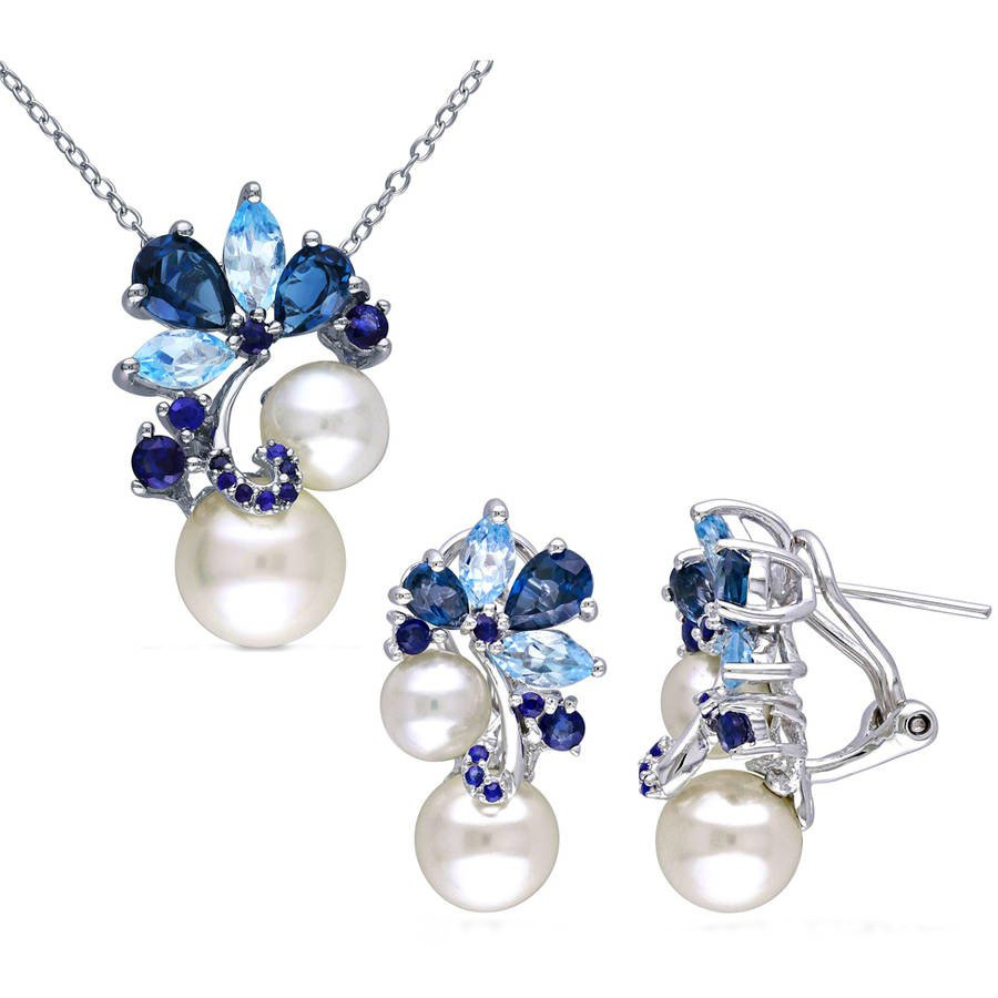GORGEOUS CULTURED FRESHWATER PEARL SAPPHIRE LONDON SKY BLUE TOPAZ NECKLACE AND EARINGS SET
