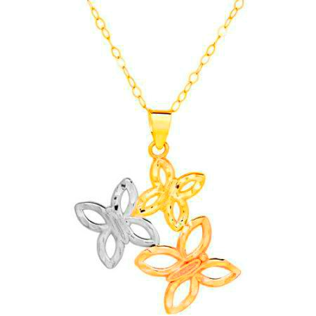 GORGEOUS 10KT ROSE YELLOW WHITE GOLD BUTTERFLY PENDANT WITH CHAIN NECKALCE