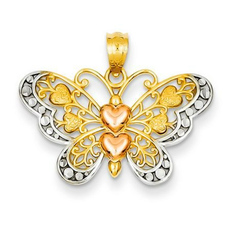 GORGEOUS 14KT ROSE YELLOW  GOLD BUTTERFLY PENDANT with HEARTS TEXTURED