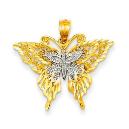GORGEOUS 14KT YELLOW  GOLD BUTTERFLY PENDANT TEXTURED FILIGREE