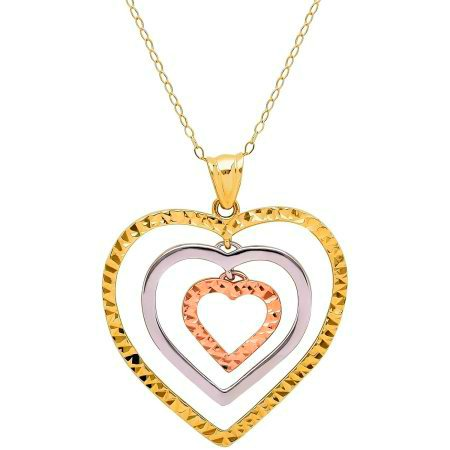 GORGEOUS 10KT ROSE YELLOW WHITE GOLD HEARTS PENDANT WITH CHAIN NECKALCE