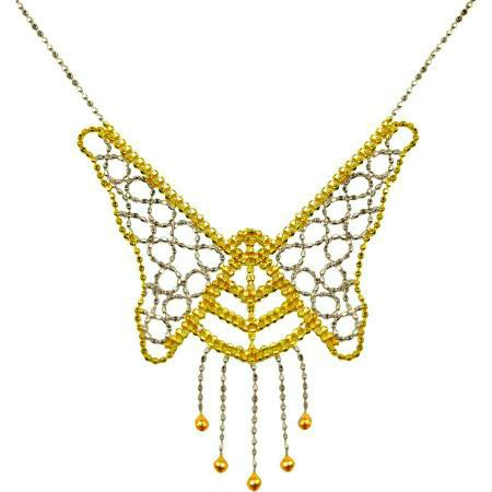 GORGEOUS 10KT YELLOW WHITE GOLD PLUS SS BUTTERFLY PENDANT WITH CHAIN NECKALCE
