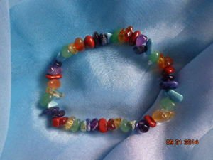 top quality massive strechy genuine colorful gemstones  7 chakra bracelet