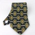 Men's New Manhattan 100% Silk Black Green Geometric Tie NWOT Necktie BL056